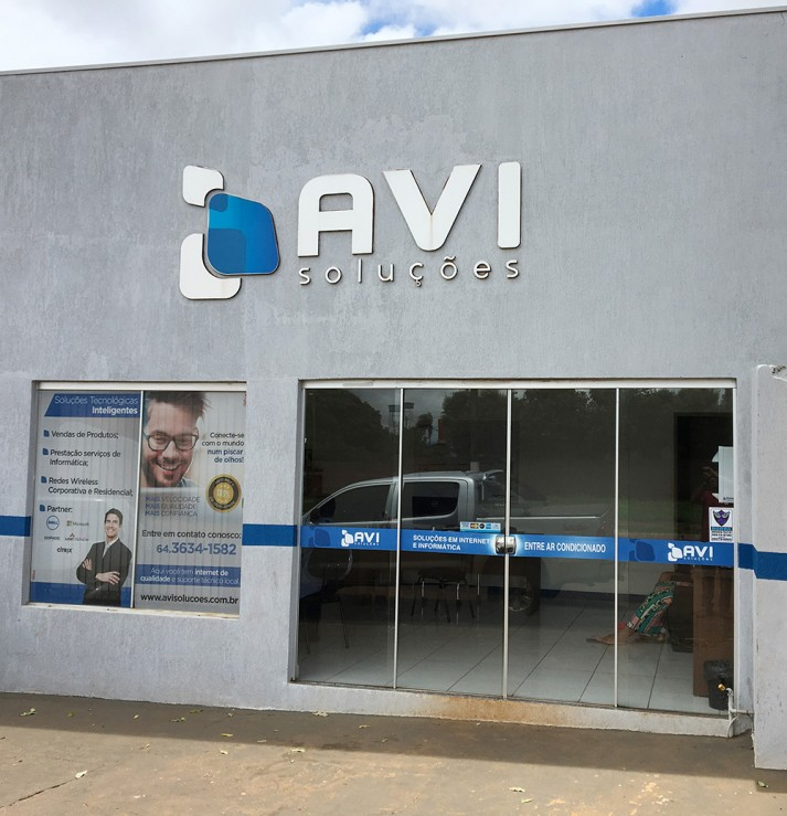 Front Sign - AVI Building (Before)